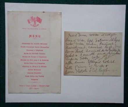Dinner Menu 'Union des Yachtsmen de Cannes' 1890 Attended by King Edward VII